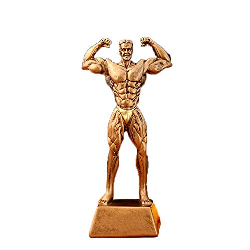 DYYPPWW Trofeo-Escultura Deportiva Fitness Fitness Competencia Muscular Masculina Trofeo Manualidades Ornamento Resina Trofeo 26cm