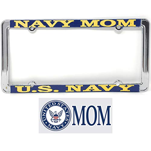 Navy Mom License Plate Frame(Thin Rim) Bundle with Navy Mom Decal(Navy Crest}