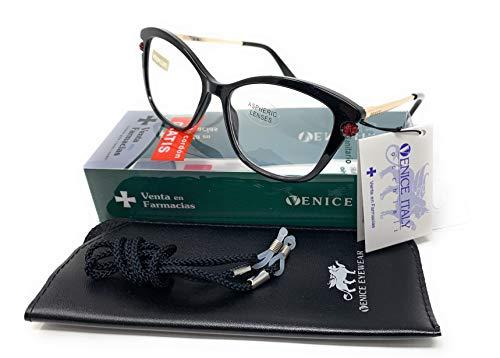 New Model última moda EXCLUSIVA Gafas de lectura, presbicia, vista cansada, Diseño en 5 Colores. VENICE Premium Perl - Dioptrías: 1 a 3,5 (Negro, 2.00)