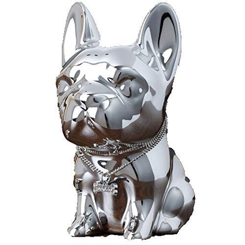 Kassa MYKK Woondecoratie Hars Hond Spaarpot Kluis Mini Stijlvol Ornament Trouwbedankjes Voor Gasten 15 * 10 * 7.5cm Zilver