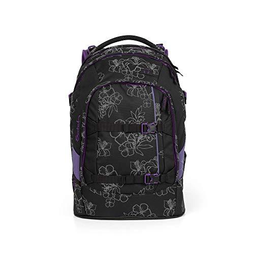 satch Pack Ninja Hibiscus, Special Edition, ergonomischer Schulrucksack, 30 Liter, Organisationstalent, Schwarz/Lila/Reflective