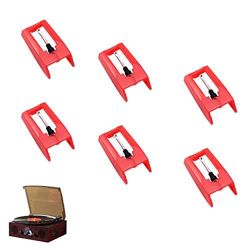 Demason 6 Pack Respuestos de Aguja para Tocadiscos de Vinilo, Aguja Universal para Fonógrafo, Tocadiscos, Aguja de Diamante Rojo, Aguja de Plástico y Alumnio