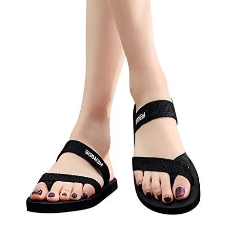 SHINEHUA Womens Flip Flops Sandals Summer Beach Slippers Womens Toe Loop Sandal Clip Toe Flip Flop Beach Flat Slipper Black