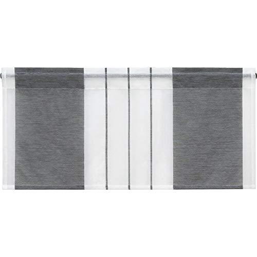 Heichkell Scheibengardine mit Streifen-Dessinierung Halptransparente Kurzstores Tunnelzug Küche Esszimmer Bistrogardine Grau HxB 60x90 cm