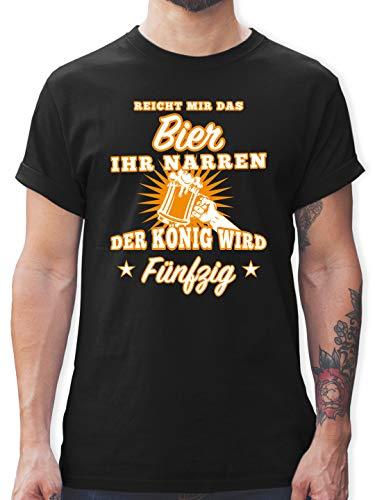 Geburtstag - Reicht Mir das Bier Ihr Narren 50 - L - Schwarz - dunkelgrünes Tshirt - L190 - Tshirt Herren und Männer T-Shirts