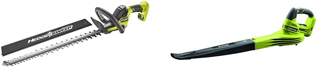 Ryobi RY18HT55A-0 18V ONE+ Cordless 55cm Hedge Trimmer (Bare Tool), 18 V & OBL1820S ONE+ Cordless Blower, Air Speed (Zero ...