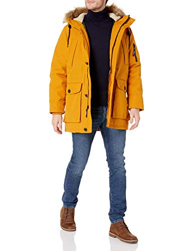 Sean John Men's Heavyweight Sherpa Trim Parka with Removable Faux-Fur Hood, Mustard, Large