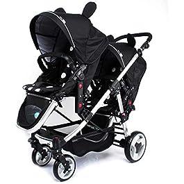 LAZNG Double Stroller, Tandem Foldable Stroller 2 Canopy Pram for Babies Comfort Trip, with Adjustable Backrest and Footrest, Tandem Pushchair