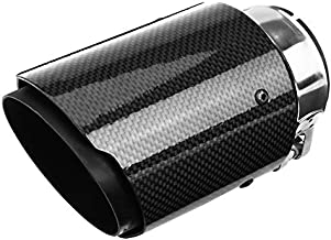 Qiilu Muffler Exhaust End Tip Pipes Carbon Fiber Style Tailpipe Muffler Tip for 2.36-2.5 Inch Inlet 3.5 Inch Outlet - Glossy Carbon Fiber -