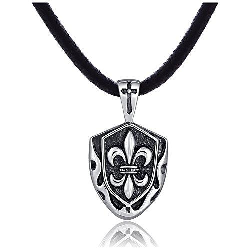 DonDon Herren Lederkette Leder Halskette 50 cm mit Edelstahl Anhänger Ritter Schild