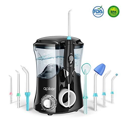 Hydropulseur Jet Dentaire Electrique, Apiker Irrigateur Dentaire Professionnel Portable avec 8 Buses Multifonctionnelles et 10 Pressions Différentes pour Soins d'hygiène Buccale- 600ml (Nior)