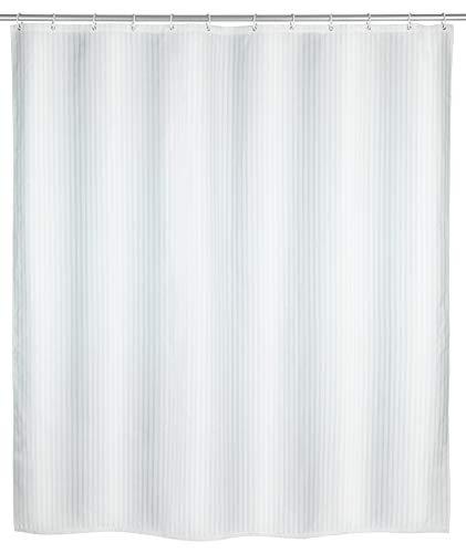 WENKO Anti-Schimmel Duschvorhang Palais - Anti-Bakteriell, Textil, waschbar, wasserabweisend, schimmelresistent, mit 12 Duschvorhangringen, Polyester, 180 x 200 cm, Weiß