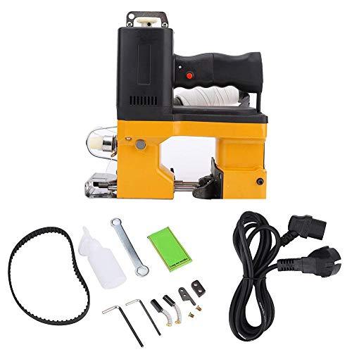 HEEPDD Máquina de Cierre de Bolsas, máquina de Coser Bolsas eléctricas Herramienta de Embalaje de Costura de Sello portátil de Metal para Saco de Bolsa de Piel de Serpiente Tejida(Enchufe de la UE)