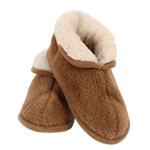 Primo Line Camel Hüttenschuhe - komfortable gefütterte Hausschuhe mit Anti-Rutsch-Sohle - warme Pantoffeln - bronz (42-43 EU)