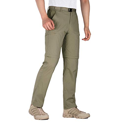FREE SOLDIER Men's Outdoor Cargo Convertible Hiking Pants Lightweight Waterproof Quick Dry Tactical Pants Nylon Spandex (Mud-Convertible 30W x 30L)