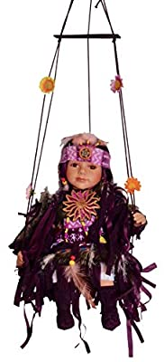 """14"""" Limited Edition Collectable Native American/Indian Girl on Swing Porcelain Doll (Light Brown)"""