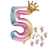 養楽堂 誕生日 バルーン 数字 パーティー 飾り風船 0-9 王冠 デコレーション装飾 32インチ 大きい バルーン 結婚式 記念日 子供 大人兼用 (5)