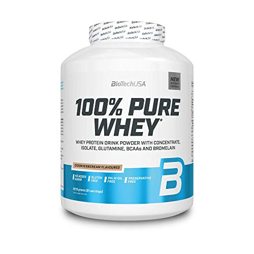 BioTechUSA 100% Pure Whey Protein Complex with bromelain Enzyme, Amino acids, sweeteners and no Added Sugar, Palm Oil Free, 2.27 kg, Cookies & Cream