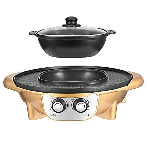 TTLIFE Hot Pot Grill 2 en 1 - Barbacoa eléctrica portátil mejorada, 2200 W, olla eléctrica caliente extraíble, olla de limpieza para fiestas en interiores y exteriores
