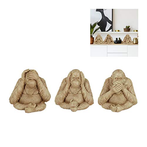 Relaxdays DREI Affen, Orang-Utan, Nichts sehen, hören & Sagen, detailreiche Affenfiguren, Garten, Polyresin, Hellbraun