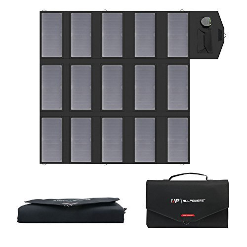 ALLPOWERS 100W tragbares Solarladegerät (Dual 5V USB mit iSolar-Technologie + 18V DC Ausgang) Faltbares SunPower Solarpanel für Laptop, tragbaren Generator, 12V Auto, Boot, Handy, iPhone, Camping