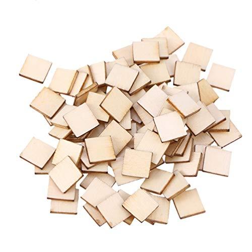 Supvox 300 Stücke Quadrate Holzscheiben zum Basteln und Bemalen Naturholzscheiben Holz Streudeko Streuteile Weihnachten Konfetti Hochzeit Tischdeko für Kinder DIY Handwerk 2,5cm