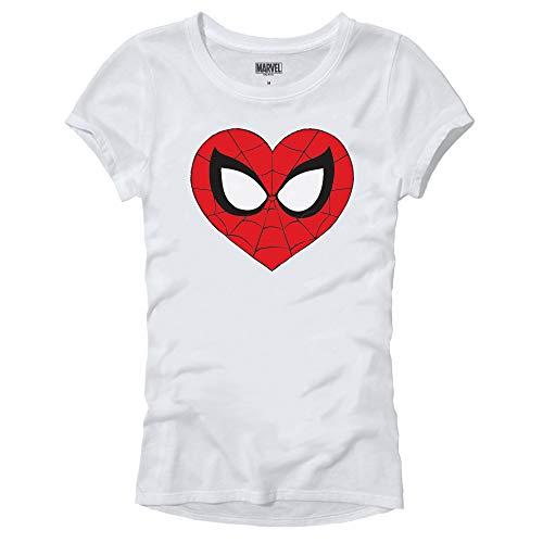 Marvel Spider-Man Face Mask Heart Logo Symbol Womens Juniors T-Shirt (White,Medium)