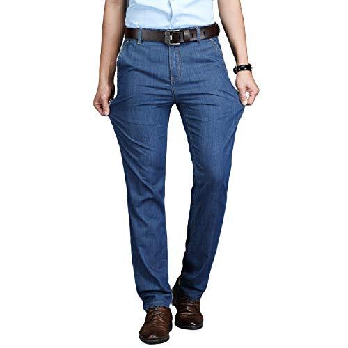 Pantalones Vaqueros de Verano para Hombre Pantalones Vaqueros de Pierna Recta Sueltos Sueltos Delgados de Verano Ropa Formal de Negocios Pantalones de Mezclilla de Moda 33W