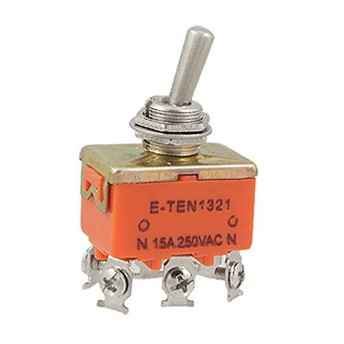 X-DREE AC 250V 15A 11.5mm Rosca DPDT ON/ON 6 Terminales de tornillo Conmutador de palanca(AC 250V 15A 11.5mm Thread DPDT ON/ON 6 Screw Terminals Toggle Switch