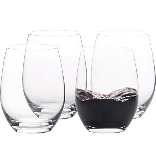 FAWLES Copas de Vino Tinto sin Tallo | Conjunto 4 Piezas | 450 ML | Artisan Collection | Uso en Casa, Restaurante y en Fiestas | Apto para Lavavajillas