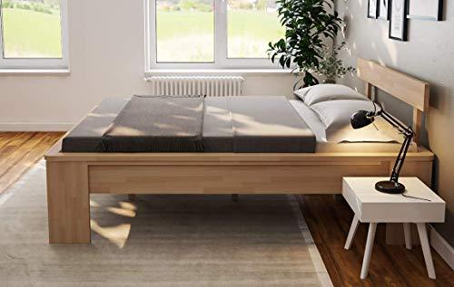 Doppelbett Komfortbett Buche 160x200 Holzbett erhöhte Liegefläche Bett Ehebett-...