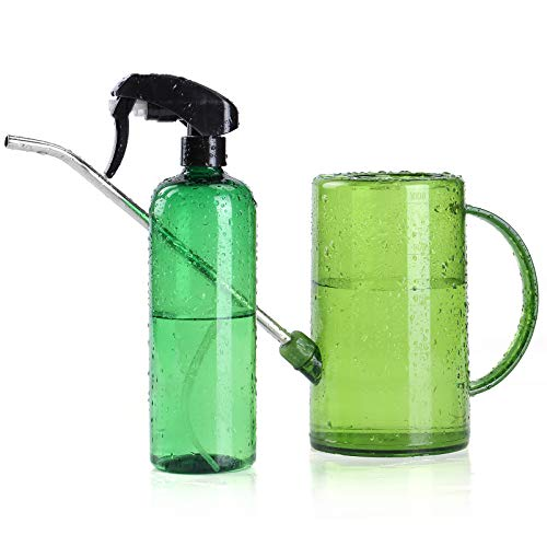 Watering Can Indoor 34oz, Small Watering Cans for House Plants, Flowers, Succulents, with Plant Mister Spray Bottle 16oz (Green)
