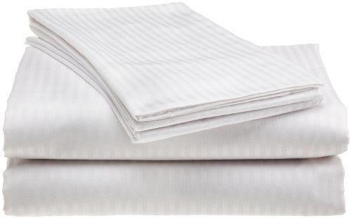 Scent-Sation Dobby Stripe 300-Thread Count California King Sheet Set, White