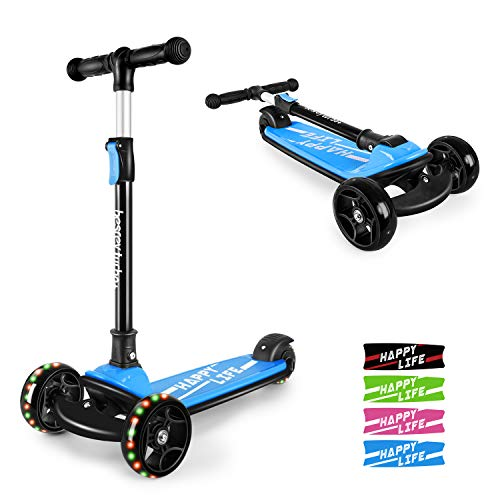 Besrey Kick Scooter for Kids Ages 3-8, 3 Wheel Scooter for Toddler Scooter with 4 Height Adjustable Lean-to-Steer, Foldable Kids Scooter with Light-up PU Wheels Rear Brake Wide Deck for Boys Girls