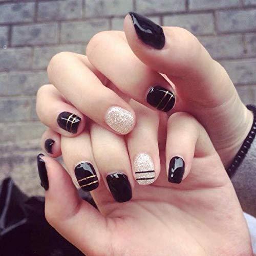 TJJL Faux ongles Extensions Stripe Dotted Line Ongles Artificiels Noir Blanc Saut Couleur Conseils Nail Art Avec De La Colle Taille Courte Pleine Couverture Art Designs