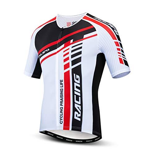 Maglietta in jersey per mountain bike, 100% poliestere traspirante, abbigliamento da ciclismo per uomo - Bianco - XL petto 110 cm