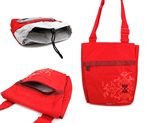 DURAGADGET Bright Red Print Messenger/Shoulder Carry Bag - Compatible with EinCar 17-Inch Widescreen LCD Portable DVD Player