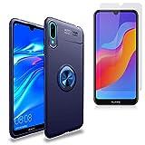 BLEOSAN Funda para Huawei Honor 8A/Huawei Y6 2019/Huawei Y6 Pro 2019 con Cristal Templado 360 Anillo Metálico Sujeción Soporte Case Carcasa para Huawei Honor 8A/Huawei Y6 2019/Huawei Y6 Pro 2019