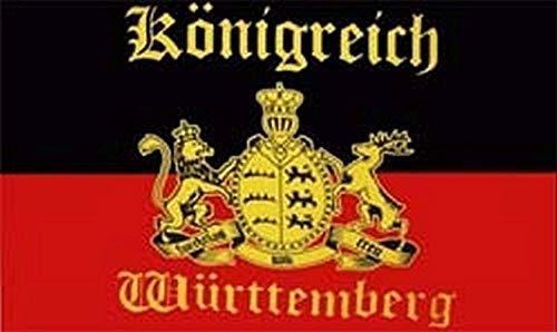 Fahne Flagge Württemberg mit Schrift Königreich 90x150 cm mit Ösen Hissflagge Hißflagge Fahnen Flaggen