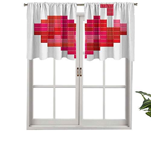 Hiiiman Cenefa de cortina de bolsillo para barra de vídeo, juego de tetris, diseño vintage Pixelado de corazón rojo, alegre, juego de 2, 42 x 36 pulgadas para decoración de interiores
