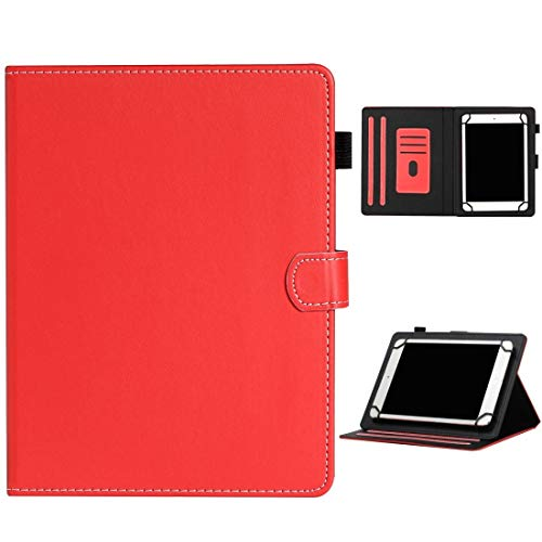MEMETIAT Funda de piel para tablet de 7 pulgadas, universal, color sólido, horizontal, con ranuras para tarjetas, soporte y ranura para bolígrafo, color rojo