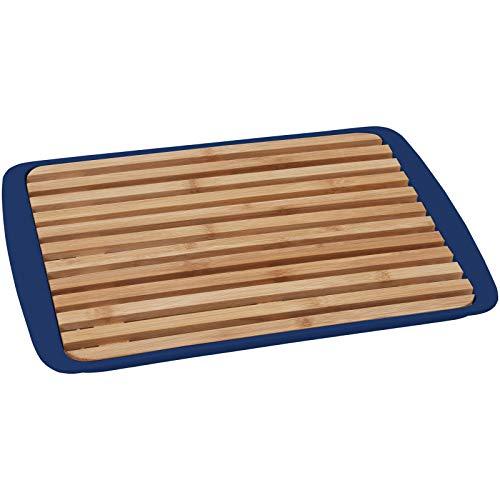 BRUNNER 2-in-1 Schneidebrett & Servier Tablett Platte Küchen Brett Holz 24x36cm dunkelblau