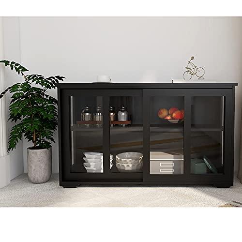 Buffet Cabinet, Kitchen Storage Stand Cupboard with Glass Door, Sliding Door and Adjustable Shelf, Wooden Kitchen Storage Cabinets, Black Kitchen Cabinet