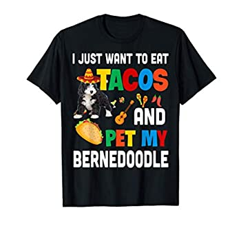 I Just Want To Eat Tacos And Pet My Bernedoodle Mexican Gift T-Shirt