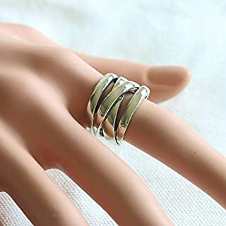 Crossover Boho Ring Cigar Band braided knot Mother's day gift Viking silver eternity Women 925