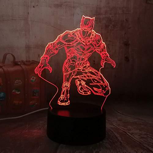 Jiushixw 3D acryl nachtlampje met afstandsbediening kleurverandering tafellamp cool luipaard comic wonder tafel kinderen geschenken kerst antiek glas tafellamp