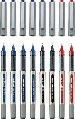 Uni-ball UB-157 Fine Kugelschreiber, Uni Super-Tinte, 0.7 mm Spitze (8 Stück Office Set) 4x blau, je 2 schwarz und rot
