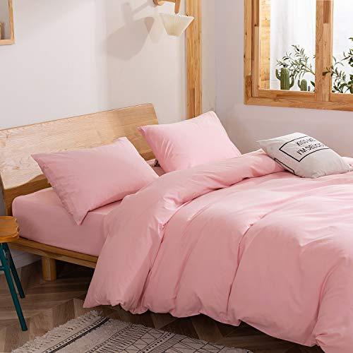 Juego de ropa de cama de 135 x 200 color rosa, funda nórdica de algodón monocolor, 2 piezas, funda de edredón moderna y funda de almohada de 80 x 80 cm con cremallera