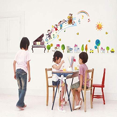 Runinstickers muurstickers, creatieve piano muziek symbool grote boom huis DIY stickers muur stickers jongen meisjes slaapkamer muursticker decoratie woonkamer decoratie sticker