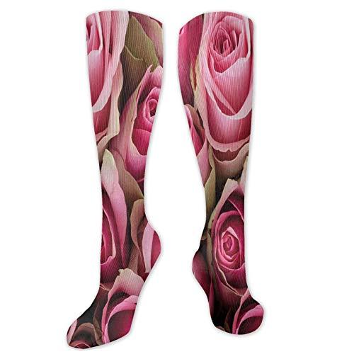 Divertidos calcetines, rosas rosas rosas rosas festivas, ramo de novia, romántico, amor,...